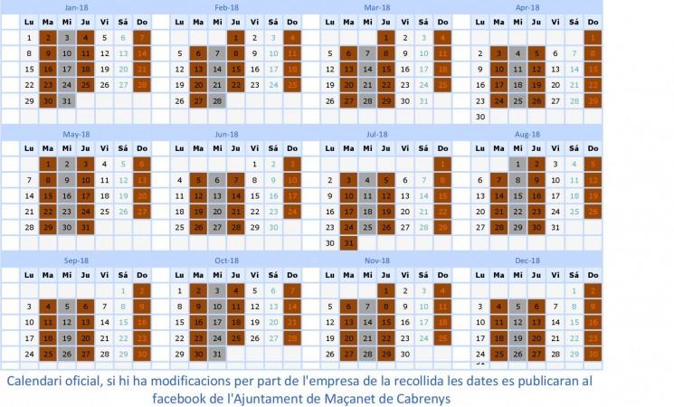 Calendari de recollida de rebuig