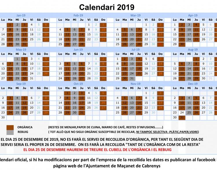 Calendari de recollida escombraries