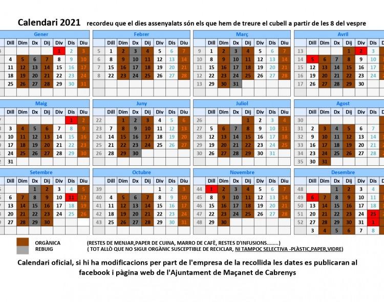 Calendari de recollida escombraries 2021